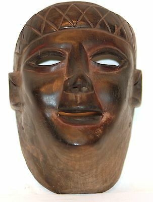 Unusual Antique Dance Mask Hard Wood -African-Mayan Cultural Mix