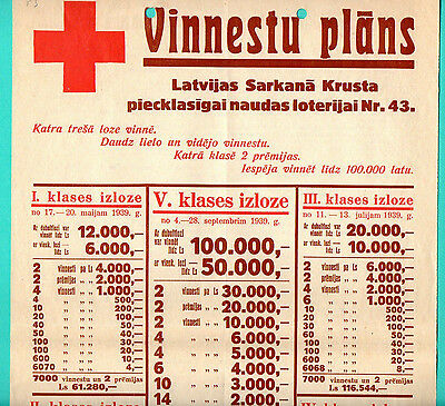 1939 Latvia Lettland Red Cross Lottery Promo Sheet 137
