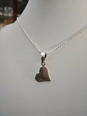 Ladies Girls Solid Sterling Silver 925 Love Heart EngravableTag Pendant Necklace