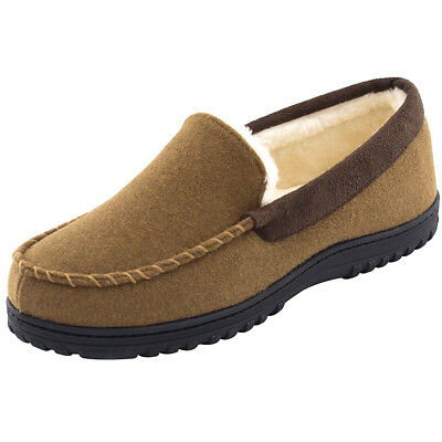 HomeTop Men's Wool-like Moccasin Slippers Micro Suede Plush Lined House Shoes