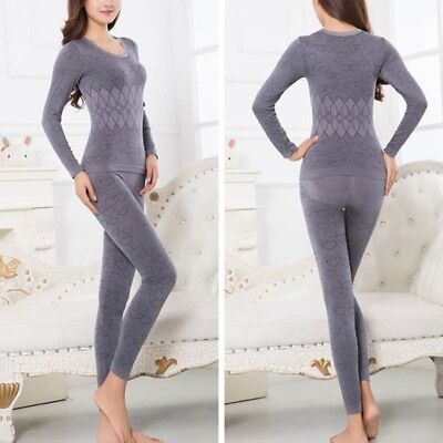 2Pcs Women Thermal Underwear Set Warm Long Sleeve Johns Top & Bottom Pajamas AU