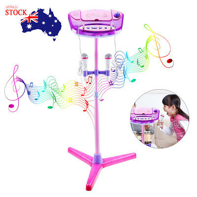 Kids Karaoke Machine Adjustable Stand Music Play Toys With 2 Microphones Set