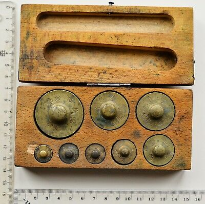 Vintage Brass Weight Set in original Wooden Box