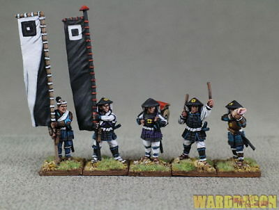 28mm Ancient WDS painted Ashigaru bannermen and musicians standing a54