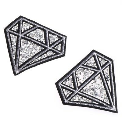2PCS Hot Drilling Diamond Parches Embroidered Iron on Patches for Clothing DIY
