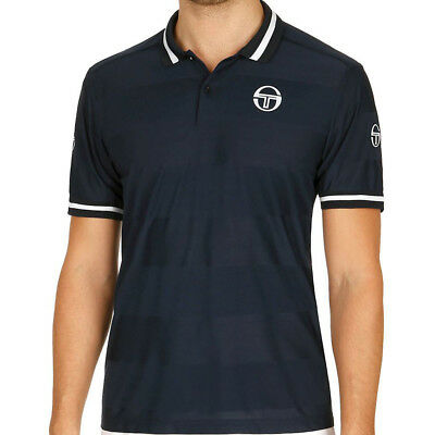 Sergio Tacchini Mens Retro Polo Navy Blue Sports Tennis Breathable Lightweight