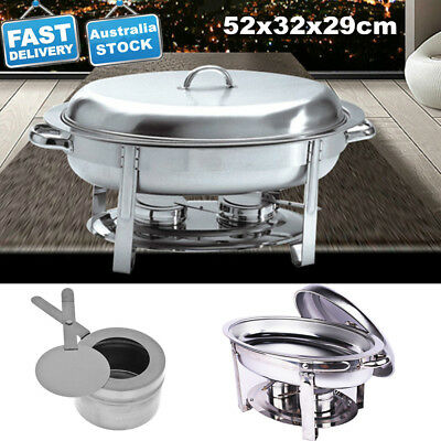 Bain Marie Chafing Dish Stainless Steel Buffet Food Warmer Heater Oval Shape