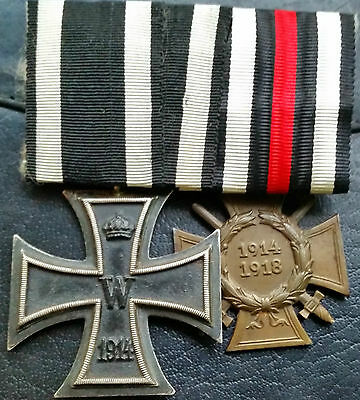 ✚6832✚ German mounted medal group Iron Cross Honour Cross WW1 MAGNETIC CORE