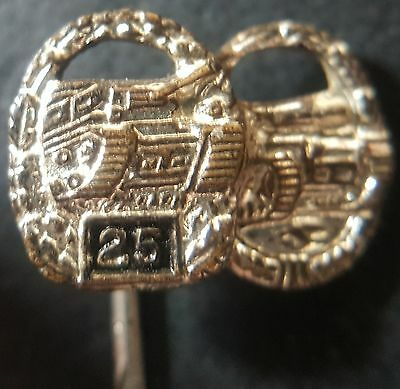 "✚7663✚ German post WW2 1957 pattern miniature pin badge Tank Panzer Battle ""25"""