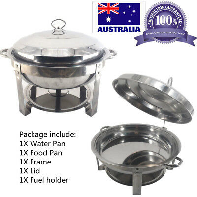 Round Stainless Steel Bain Marie Chafing Dishes Food Warmer Buffet AU STOCK