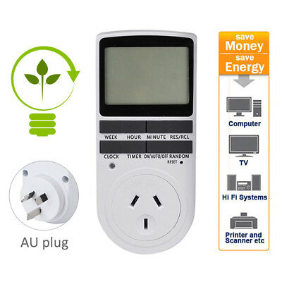 AU Plug LCD LED Display Programmable Digital Power Timer Socket Switch W/ Clock