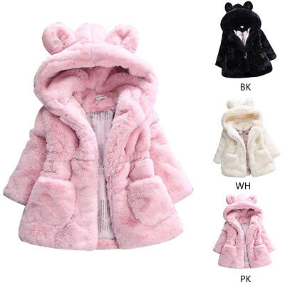 Children Kids Girls Fur Warm Hooded Coat Toddler Ears Jacket Clothes Outwear AU