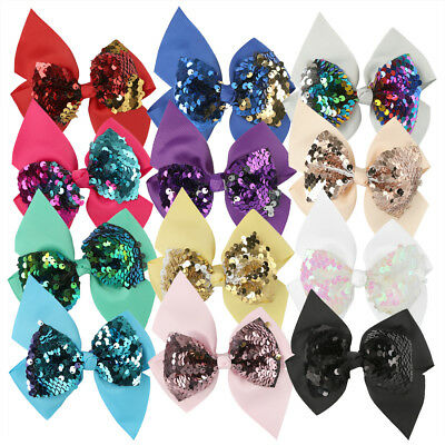 "12pcs/lot 4.5"" Reversible Sequin Bows With Clips Grosgrain Ribbon Chic Hair Bows"