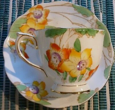 "Royal Albert Crown China  ""DAFFODIL"" Tea Cup and Saucer  - -  Made in England"