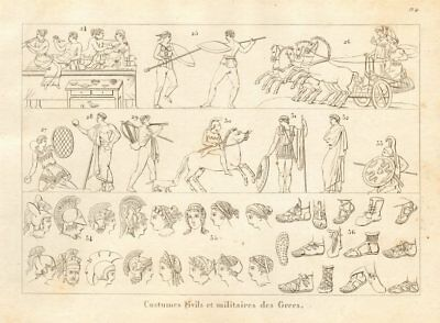 ANCIENT GREECE. Civil & military dress & costumes (2) 1832 old antique print