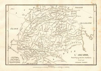 """ANCIENT GREECE. Arcadia. """"L'Arcadie"""". Central Peloponnese 1832 old antique map"""