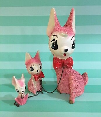 Vtg Arnart Pink Deer Doe w/ Red Polka Dot Bow Tie and 2 Fawns on Chain Rare Set