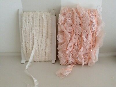 Vintage Lace Trim - New - Sewing - Craft - 2 Kinds Cream And Apricot.