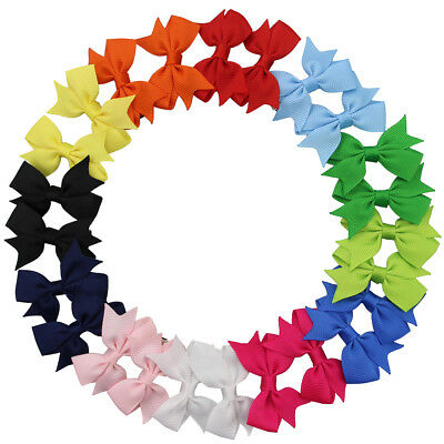 "12 Pairs 2"" Girl Baby Pinwheel Pigtail Hair Bow Grosgrain Hair Clip Mix 12 Color"