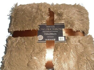 Luxury Faux Fur Super Soft and Cuddly Shaggy 150x200cm Throw Blanket (Mocha)