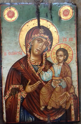 Antique Greek icon of Virgin Mary Odeghetria ,mid 19th century
