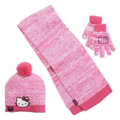 29cbc61e7 NWT-Girls Sanrio Hello Kitty Pink Marled Winter Knit Hat, Scarf and Gloves  Set