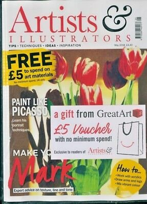 Artists & Illustrators Magazine May 2018 ~ Sealed With £5 Voucher From Great Art