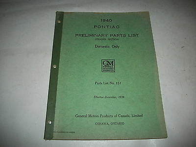 Original 1940 Pontiac Early Issue Chassis Parts Catalog Series 22-25-26-28-29