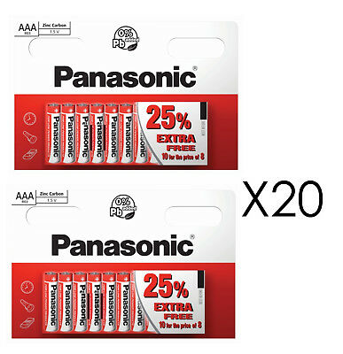 20 x AAA Genuine PANASONIC Zinc Carbon Batteries - New LR03 1.5V MN2400 02/2021