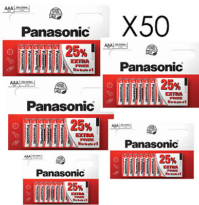 50 x AAA Genuine PANASONIC Zinc Carbon Batteries - New LR03 1.5V MN2400 02/2021