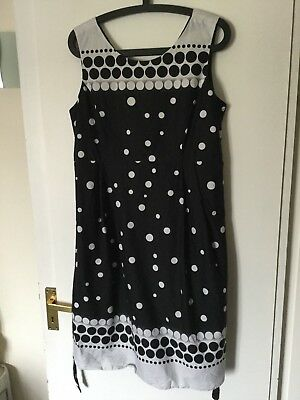 Ladies Quality Maternity Dress Red Herring Cotton Black And White Size 14 New