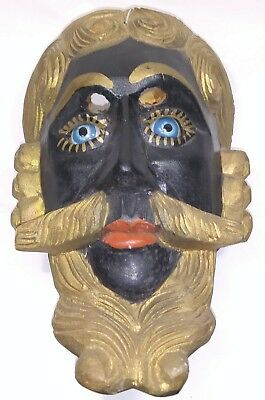 Vintage Guatemala hand Carving Wood dance Mask Conquest Dancing blue Glass eyes