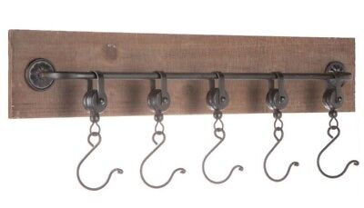 Wood & Metal Pulley Hooks Wall decor Antique Vintage Industrial Steampunk Decor