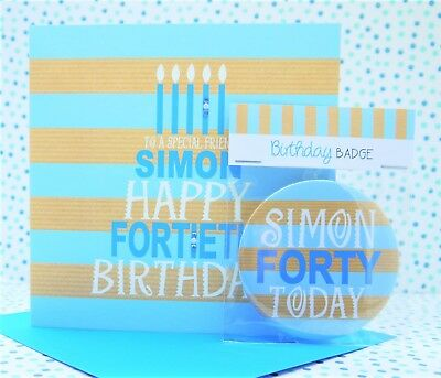 Personalised Handmade Male Birthday Card and Badge, 18th, 21st, 30th, 40th, 50th