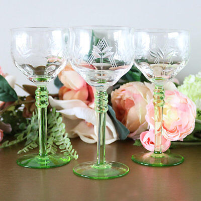 Crystal Green Stem Cocktail Glasses - Set Of 3, Alsace Wine Glasses Green Stems