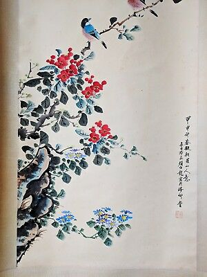 Early 20th Century Minguo Era Chinese Painting Scroll - Beautiful Birds