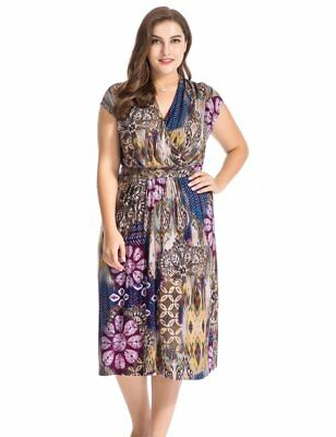 710fc62e889 Chicwe Women s Plus Size Floral Printed Dress Cap Sleeves with Waist Belt  US16-2