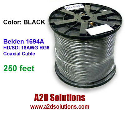 Belden 1694A  010-250 HD/SDI 18AWG RG6  Digital Coaxial Cable BLACK 250 feet
