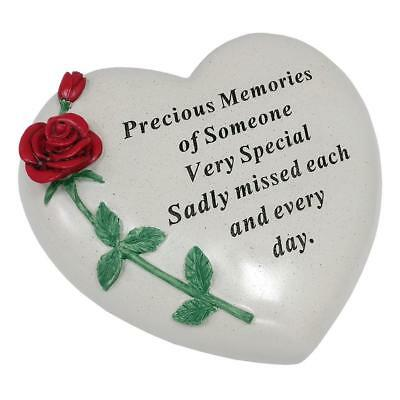 Someone Special Red Rose Heart Stone Graveside Memorial Scroll Ornament DF17405P