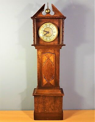 Vintage Miniature Inlaid Wooden Grandfather Clock, Made in Germany