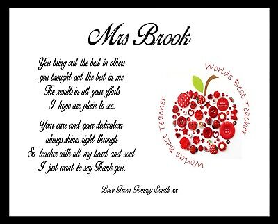 THANK YOU TEACHER APPLE Personalised Gift TA School Leaving Present A4 Poem  NEW