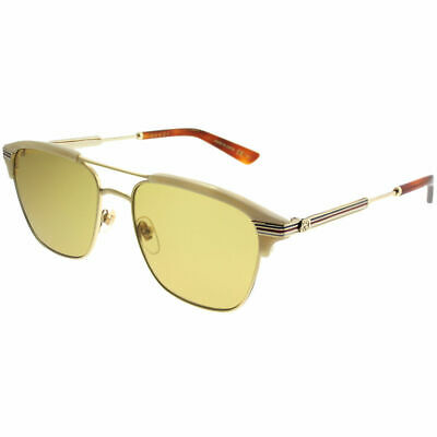 ac19c089d3c GUCCI GG0241S 004 Gold Bege Plastic Rectangle Sunglasses Brown Lens ...