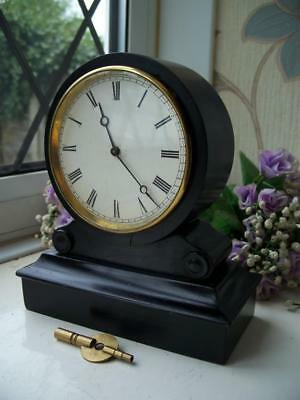LOVELY EBONISED ANTIQUE FRENCH 8 DAY DRUMHEAD MANTLE CLOCK BY V.A.P. c1890