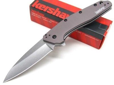 Kershaw Gray Dividend Assisted Stonewash Straight Folding Pocket Knife 1812GRY