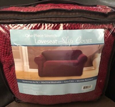 Pictures On Loveseat 1 Piece Stretch Slip Covers Brown