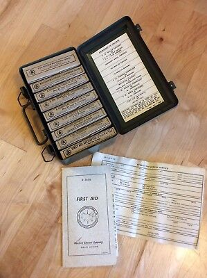 Antique First Aid Kit Western Electric Company Telephone complete unused (IS230)