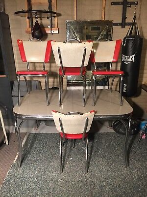 Retro Lloyd Chrome Formica Kitchen Table 4/Chairs & 2 Leafs Wear Present See Pic