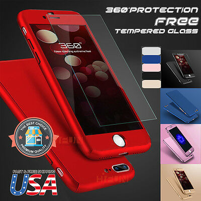 Fits iPhone 360 Hybrid Full body case cover Tempered Glass Screen Protector