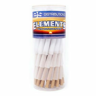 Elements Rice Paper 1 1/4 Size Pre-Rolled Cones (75 Pack)