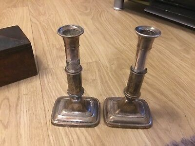 Old Sheffield Plate Telescopic Candlestics For Restoration C1800